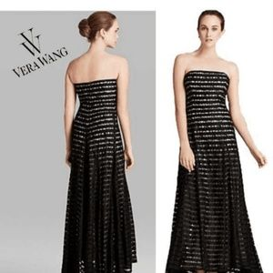 VERA WANG Strapless Gown Lace Striped Size 14 Long